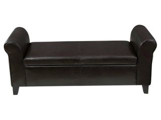 Torino Contemporary Upholstered Storage Ottoman Bench with Rolled Arms by Christopher Knight Home- Retail:$198.99