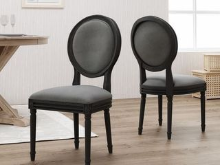 Hiro Traditional Fabric Dining Chairs by Christopher Knight Home - Dark Gray