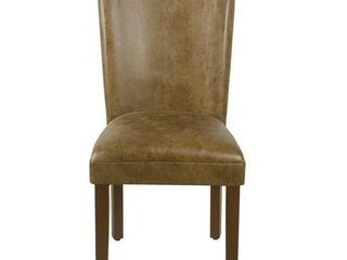 Porch & Den Donatello Distressed Brown Faux Leather Parsons Chair (Set of 2)- Retail:$204.99