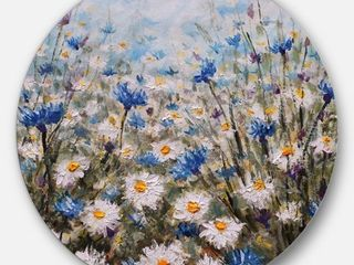 Designart 'Glade of Cornflowers and Daisies' Floral Circle Wall Art- Retail:$125.99