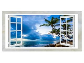 Window Open to Cloudy Blue Sky - Oversized Landscape Wall Art Print- Retail:$183.99