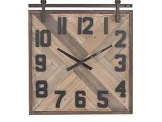 Modern 27 x 24 Inch Wood and Iron Square Wall Clock by Studio 350- Retail:$109.49