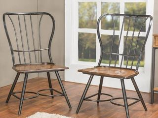 Carbon Loft Rudolph Set of 2 Wood and Metal Vintage Industrial Dining Chair- Retail:$159.49