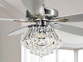 Modern Chrome and Crystal 52-inch Ceiling Fan with Remote - Retail:$218.49