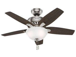 "Hunter 42"" Newsome Ceiling Fan with LED Light Kit and Pull Chain - Brushed Nickel- Retail:$112.64"