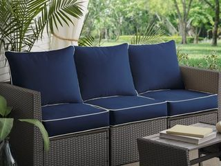Sunbrella Navy/ Canvas Indoor/ Outdoor Corded Pillow and Cushion 6-pc Sofa Set- Retail:$393.49