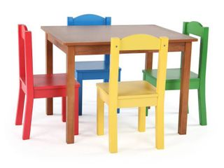 Highlight Collection Kids Wood Table & 4 Chairs Set, Dark Pine/Primary - Multi- Retail:$115.99