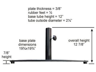 TropiShade Steel Plate 20-inch Square Base- Retail:$76.90