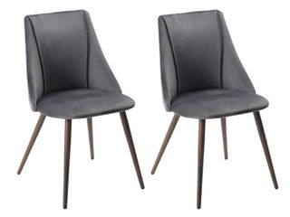 FurnitureR Smeg Grey Upholstered Dining Chair (Set of 2), Gray