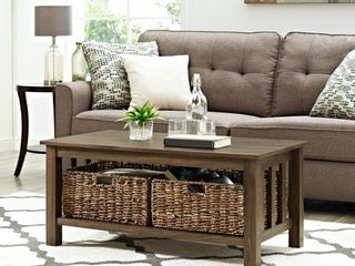 40-inch Coffee Table with Wicker Storage Baskets- Retail:$168.49