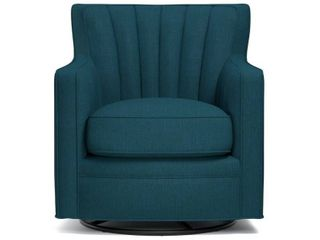 Copper Grove Hasselt Peacock Blue Linen Swivel Arm Chair- Retail:$413.99