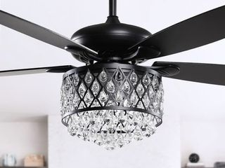 Chrome 4-Light Chandelier Crystal 5-Blade Ceiling Fan with Remote- Retail:$176.49