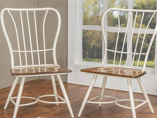 Baxton Studio Longford Windsor Dining Side Chair in White (Set of 2)