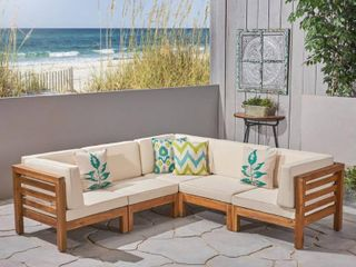 Oana Outdoor 1 Seater V-Shaped Acacia Wood by Christopher Knight Home- Retail:$1096.49