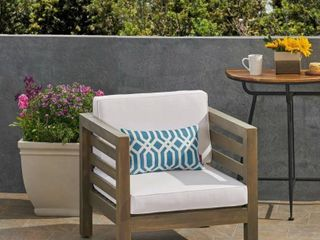Oana Outdoor 1 Seater Acacia Wood Club Chair by Christopher Knight Home- Retail:$273.99