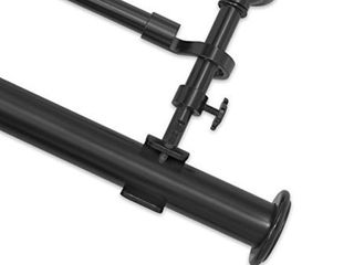 Pinnacle Black Optima End Cap Double Curtain Rod Set- Retail:$96.99