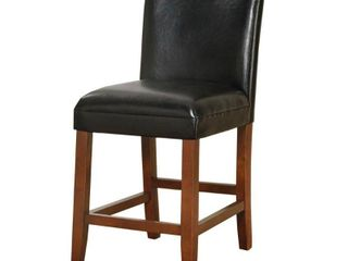 "HomePop 24"" luxury black faux leather barstool"