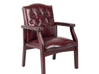 Boss Button tufted Vinyl Guest Chair with Antique brass Nailhead Trims  Retail 145 49