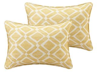 Yellow Natalie Printed Oblong Throw Pillow Pair  14 x20
