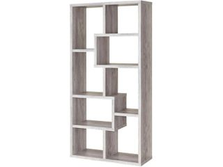 Carbon loft Novatt Wood 8 shelf Bookcase  Retail 188 49 grey