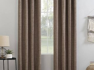Sun Zero Kline Burlap Weave Thermal Extreme Total Blackout Grommet Curtain Panel 2 pc