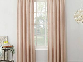 No  918 Amalfi linen Blend Textured Sheer Rod Pocket Single Curtain Panel 2 pc