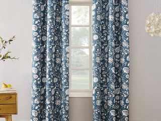 Sun Zero Jorah Botanical Print Thermal Insulated Grommet Curtain Panel 2 pc