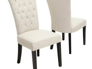 Venetian Tufted Dining Chairs  Set of 2  by Christopher Knight Home  Retail 236 99