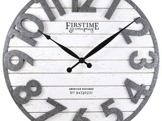 FirsTime   Co  Sawyer Shiplap Wall Clock  American Crafted  Distress White   Gray  Plastic   Wood  18 x 2 5 x 18 in