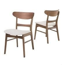 Idalia Mid Century Modern Dining Chairs set of 2 light beige