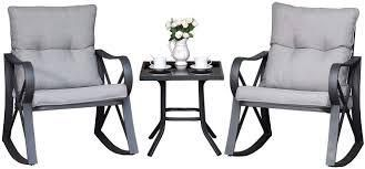 COSIEST Outdoor 3 Piece Bistro Set Rocking Chairs w Warm Gray Cushions  Retail 288 49