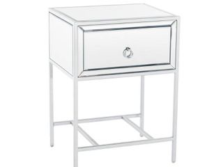 Rodeo One Drawer Mirrored End Table by Christopher Knight Home   15 75 l x 19 W x 26 25 H  Retail 207 49