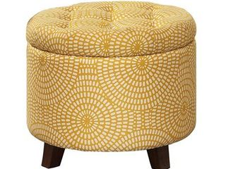 Homelegance Cleo Round Storage Accent Ottoman with Button Tufted Geometric Design  Yellow