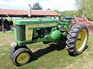 1957 John Deere Model 620 Gas Tractor, SN# 620-6222328, Narrow Front, Electric Start, John Deere 3-P