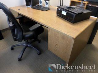 Double Pedestal Oak Colored Desk Includes