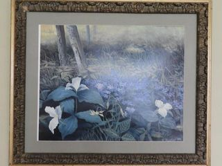 Lot #4334 - Framed floral print signed R. Boston