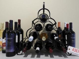 Lot #4367 - Metal 10 bottle wine rack with