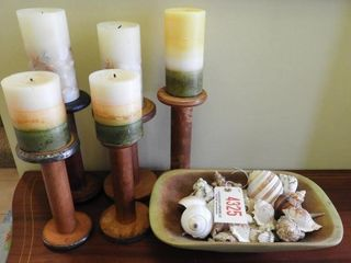 Lot #4325 - (5) Antique spool candle holder with