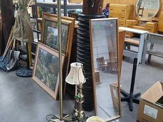Framed Mirror, Floor Lamp, 2 Table Lamps Untested