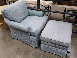 Turquoise Chair & Ottoman 32x36x32
