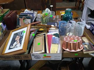 2 Flats Of Picture Frames, Assorted Glass Jars