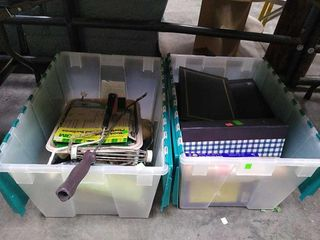 2 Totes W/ Contents, Sand Paper, Painting Tools,