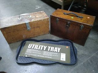 2 Wood Tool Boxes, Utility Tray Mat