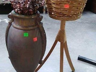 Vase & Basket On Stand
