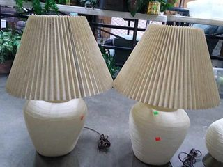 2 White Table Lamps