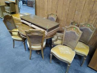 Dining Table, 2 Leaves, 6 Chairs 44x30