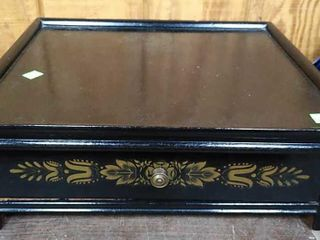 1 Drawer Decorated Black Lacquer