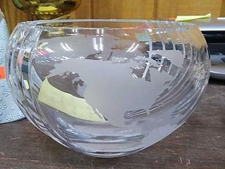 Delco Electronics Glass World Map Bowl