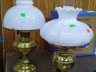 2 Unmarked Kerosene Lamps Converted To Electric