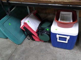Assorted Coolers & Plastic Tote W Contents